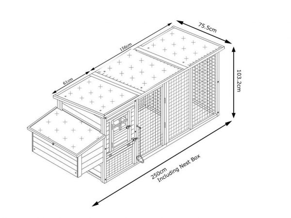 Buckingham 2019 Model - XL 8ft Large Fox Resistant Chicken Coops dimensions