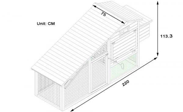 Granary Chicken Coop with Apex Wooden Run Roof dimensions