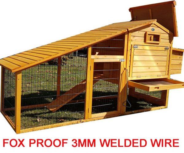 Granary Chicken Coop with Apex Wooden Run Roof wire