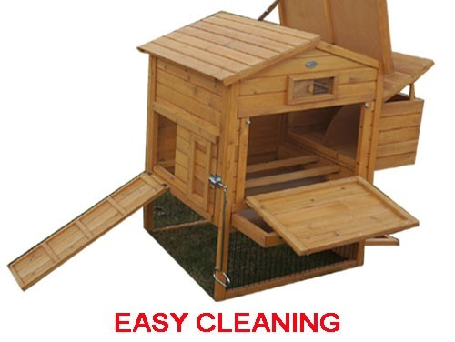 The Granary Chicken Coop with Wire Fencing open