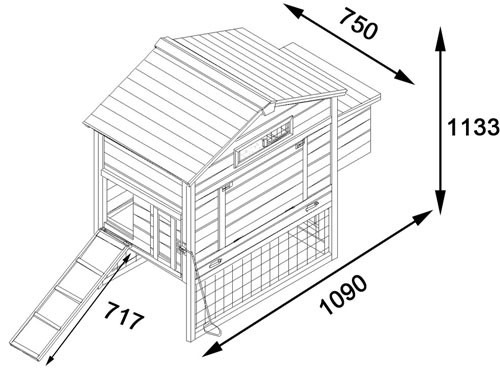 The Granary Chicken Coop with Wire Fencingdimesion