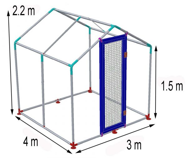 Walk In Chicken Run for Poultry and Dogs dimensions