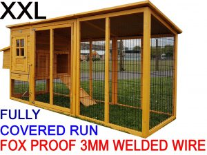 Buckingham 2019 Model - XL 8ft Large Fox Resistant Chicken Coops with Run and 3mm Weld Wire and Opening roof for easy cleaning and access