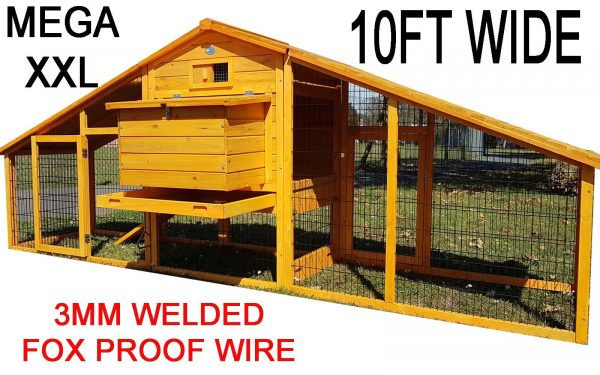 XXL Granary 10FT Chicken Coop with 2 sloping wooden roofs