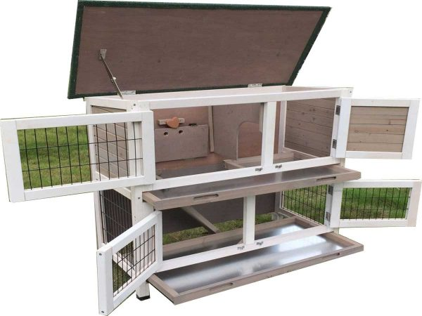 Roger Grey - Rabbit Hutch 2 tier with 2 removable dirt trays