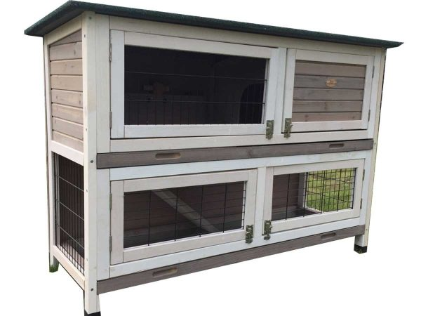 Roger XL Grey – Rabbit Hutch 2 tier with 2 removable dirt trays