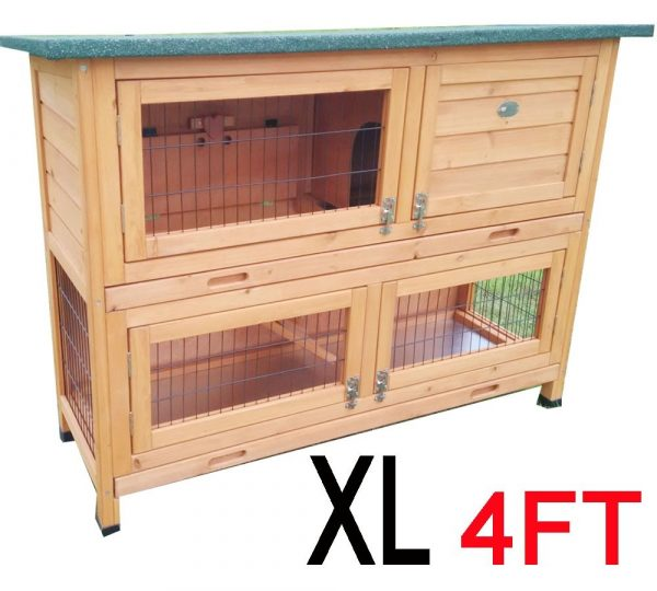 Roger XL Natural- Large 4ft Rabbit Hutch 2 tier with fox resistant welded and coated 3mm wire