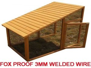 Sloping Wooden Extension Run for Granary - Fox Resistant 115cm with 3mm Wire