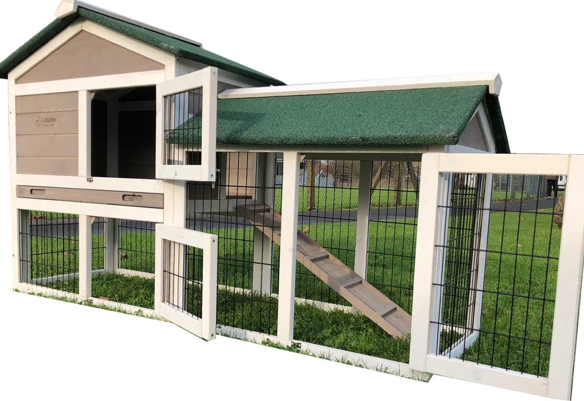 Smokey Grey - Fox Proof Large Rabbit Hutch 5ft long with welded and coated 3mm wire