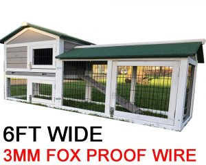 Smokey XL Grey - Fox Resistant Large Rabbit Hutch 6TF long & coated 3mm wire