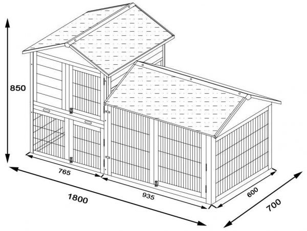 Smokey XXL - Fox Resistant Large Rabbit Hutch 6ft Long 2ft deep with coated 3mm wire