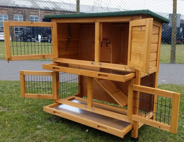 rabbit hutch two tier doors open from the right