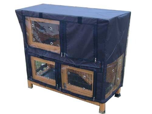 Roger Natural - Rabbit Hutch 2 tier with 2 removable dirt trays covered closed
