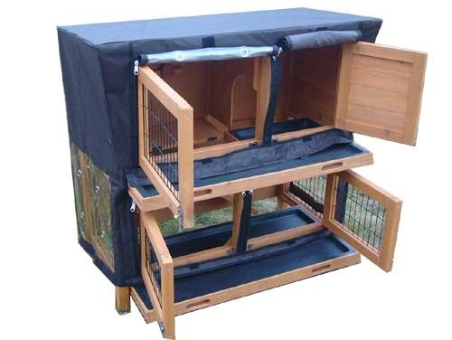 Roger Natural - Rabbit Hutch 2 tier with 2 removable dirt trays covered open