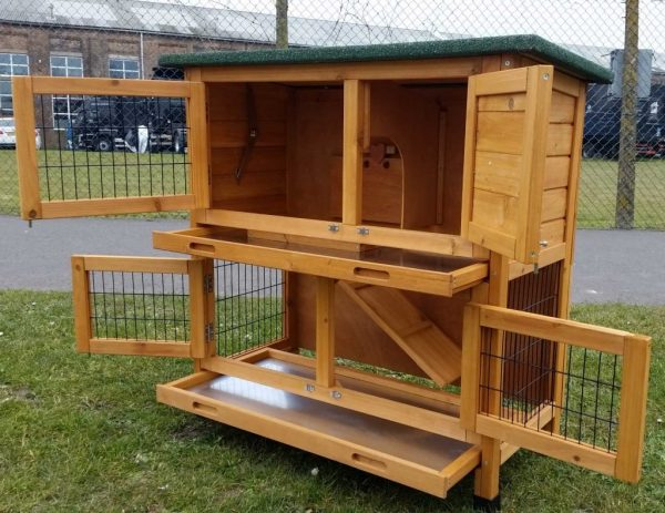 Roger Natural - Rabbit Hutch 2 tier with 2 removable dirt trays open left