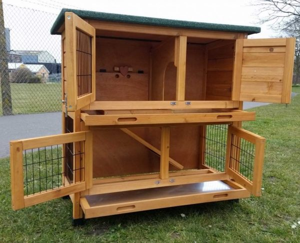 Roger Natural - Rabbit Hutch 2 tier with 2 removable dirt trays open