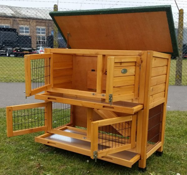 Roger Natural - Rabbit Hutch 2 tier with 2 removable dirt trays completely open