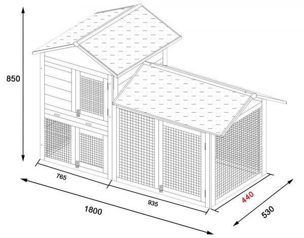 Smokey XL Grey - Fox Resistant Large Rabbit Hutch dimensions