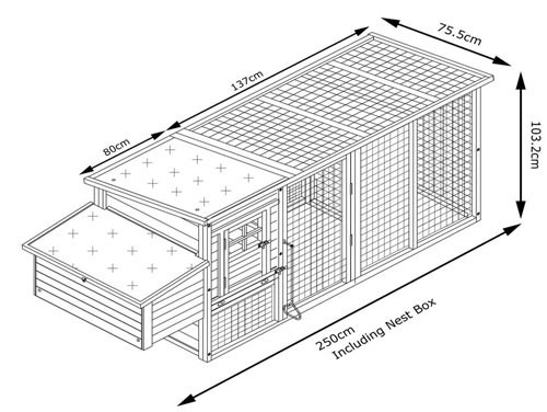 Windsor Portable - XXL 8ft Large Fox Resistant Chicken Coop dimensions